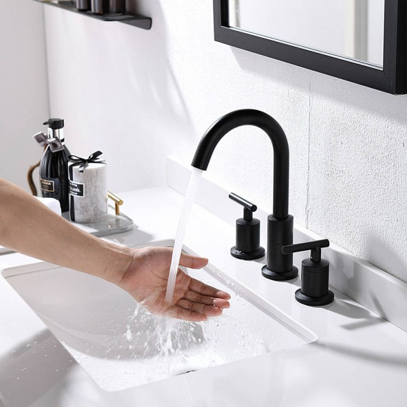 2 Handles 8 Inch Widespread BathroomFaucets, Matte Black Bathroom Sink Faucet with Valve And Metal Pop-Up Drain