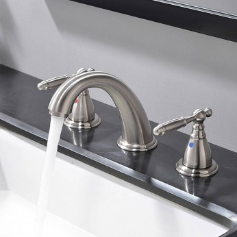 2 Handle Satin Polished 8 Inch 3 Hole Widespread Bathroom Faucet Brushed Nickel Bathroom Vessel Sink Faucet With Pop Up Drain
