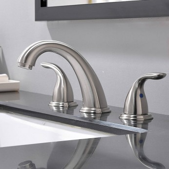 2 Handle 3 Hole 8 Inch Widespread Bathroom Faucet Brushed Nickel Bathroom Faucet With Pop Up Drain And Supply Lines