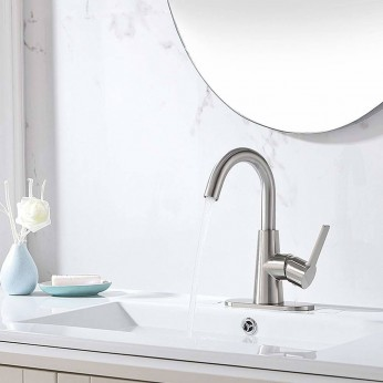 Single Handle Brushed Nickel Single Hole Centerset Bathroom Faucet With Deck Plate Pop Up Drain And Water Supply Hoses
