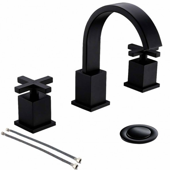 8 Inch 2 Cross Handle 3 Hole Matte Black Widespread Bathroom Faucet,Bathroom Vessel Sink Vanity Faucet With Pop Up Drain