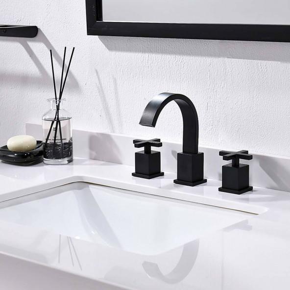 8 Inch 2 Cross Handle 3 Hole Matte Black Widespread Bathroom Faucet,Bathroom Vessel Sink Vanity Faucet With Pop Up Drain