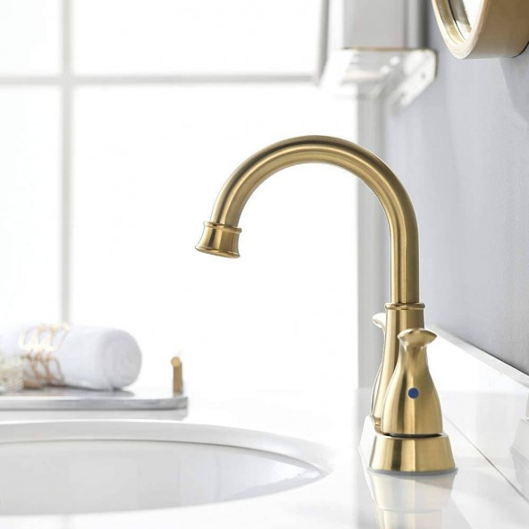 2 Handle Brushed Gold Bathroom Faucet by Phiestina, Bathroom Sink Faucet with Stainless Steel Metal Pop Up Drain