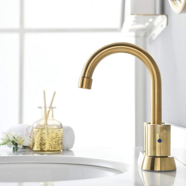 Brushed Gold 4 Inch 2 Handle Centerset Bathroom Faucet, with Copper Pop Up Drain and Water Supply Lines