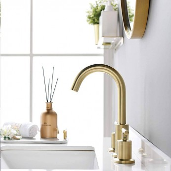 2 Handles 8 Inch Widespread BathroomFaucets, Brushed Gold Bathroom Sink Faucet with Valve and Metal Pop-Up Drain