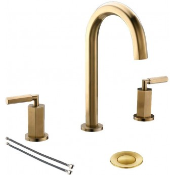 2 Handle 3 Hole Brass Widespread  Brushed Gold Bathroom Faucet, Bathroom Sink Faucet With Metal Pop Up Drain