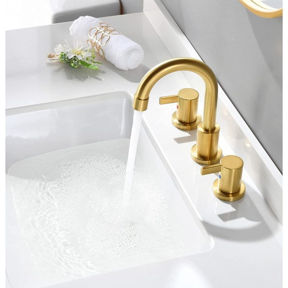 2 Handle 3 Hole 8 inch Widespread Brushed Gold Bathroom Faucet with Metal Pop-Up Drain and Water Lines