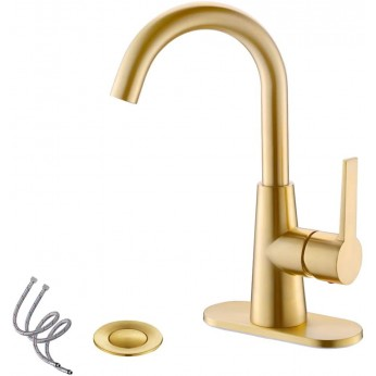 Brushed Gold Single-Handle 4 Inch Centrest Bathroom Sink Faucet with Deck Plate and Supply Hoses, Bar Sink Faucet