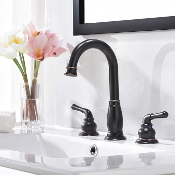 Phiestina 2-Handle 3 Piece 8 inch Widespread Oil Rubbed Bronze Bathroom Faucets ,with Valve and Metal Pop-Up Drain