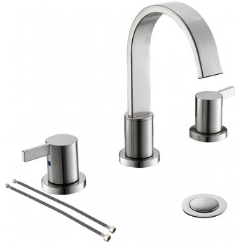 Brushed Nickel Waterfall 2-Handle 3-HoleWidespread Bathroom Faucet with Pop-up Drain and Valve