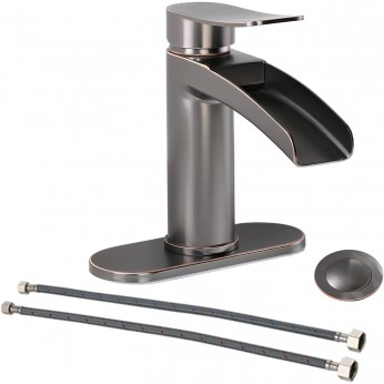 Phiestina Single Handle Black Stainless Steel Gold Waterfall Bathroom Sink Faucet, with 4-Inch Deck Plate & Metal Pop Up Drain