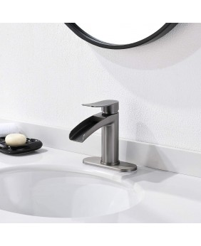 Phiestina Black Stainless Steel Single Handle Waterfall Bathroom Faucet by Phietsina, with 4-Inch Deck Plate & Metal Pop Up Drain