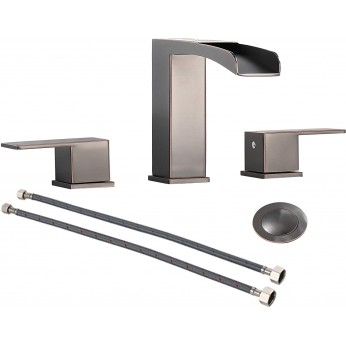 3 Holes 2 Handles 8-Inch Waterfall Bathroom Faucet in Black Stainless Steel Gold, with Metal Pop Up Drain &  Water Supply Lines