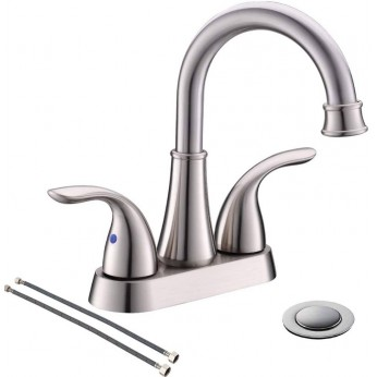 2 Handle Centerset 4 Inch Brushed Nickel Bathroom Sink Faucet by Phiestina, with Metal Drain Assembly and Supply Hose