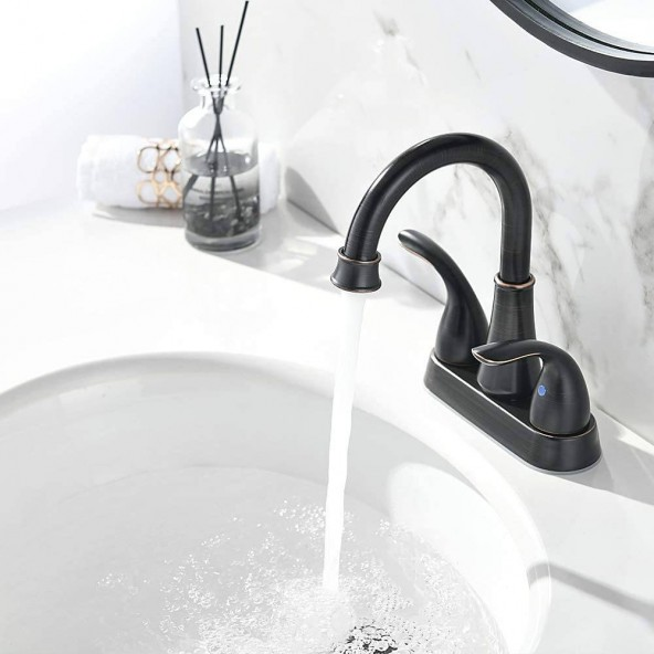 4 Inch 2 Handle Centerset Lead-Free Oil Rubbed Bronze Bathroom Sink Faucet, with Copper Pop Up Drain and Two Water Supply Lines