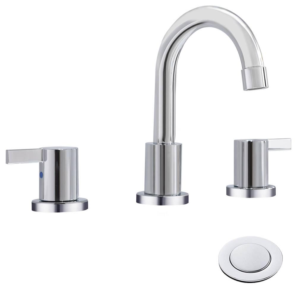 2 Handle 8 Inch Widespread Bathroom, 3 Piece Bathroom Faucet