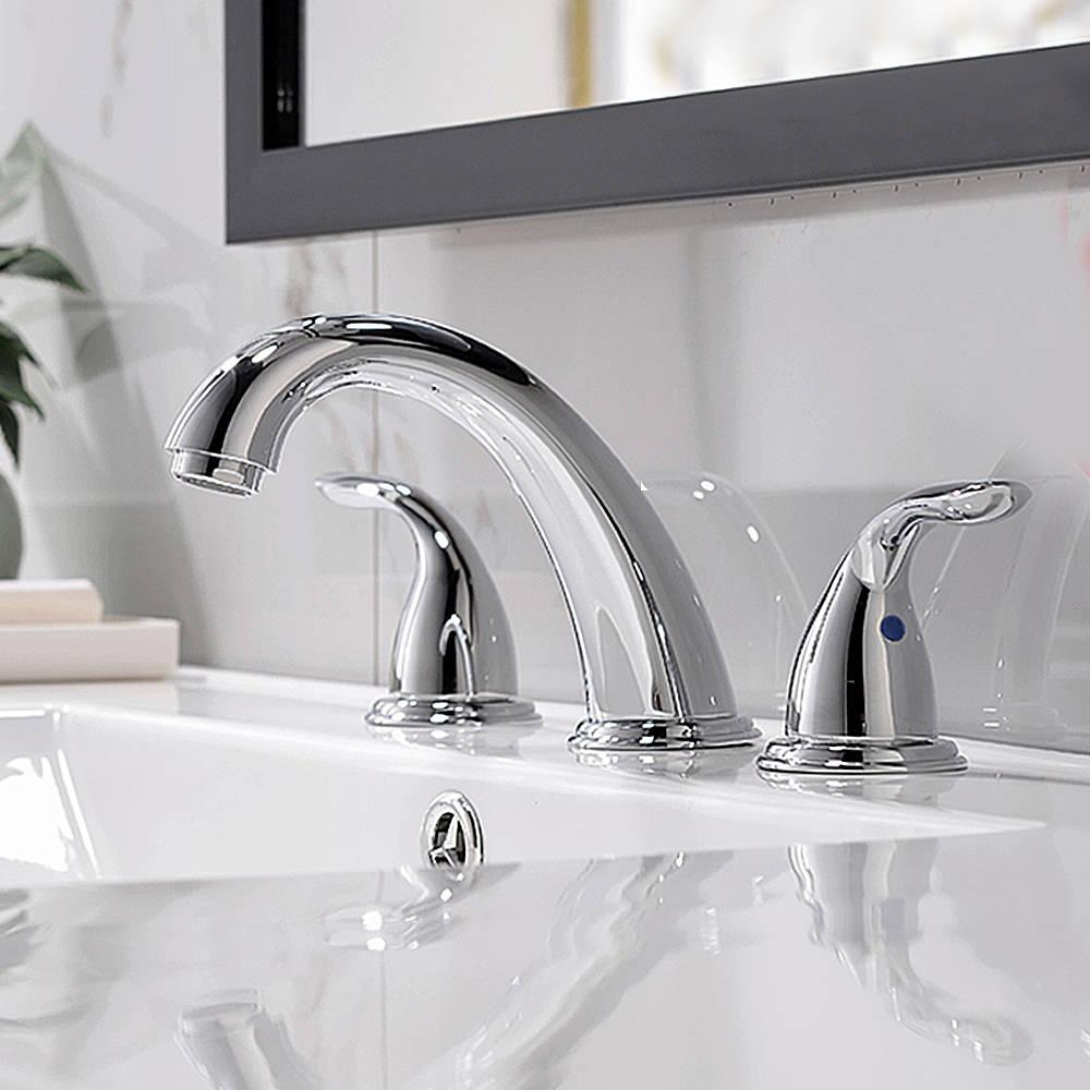 Chrome Widespread Bathroom Sink Faucet, Bathroom Faucets 8 Inch Spread