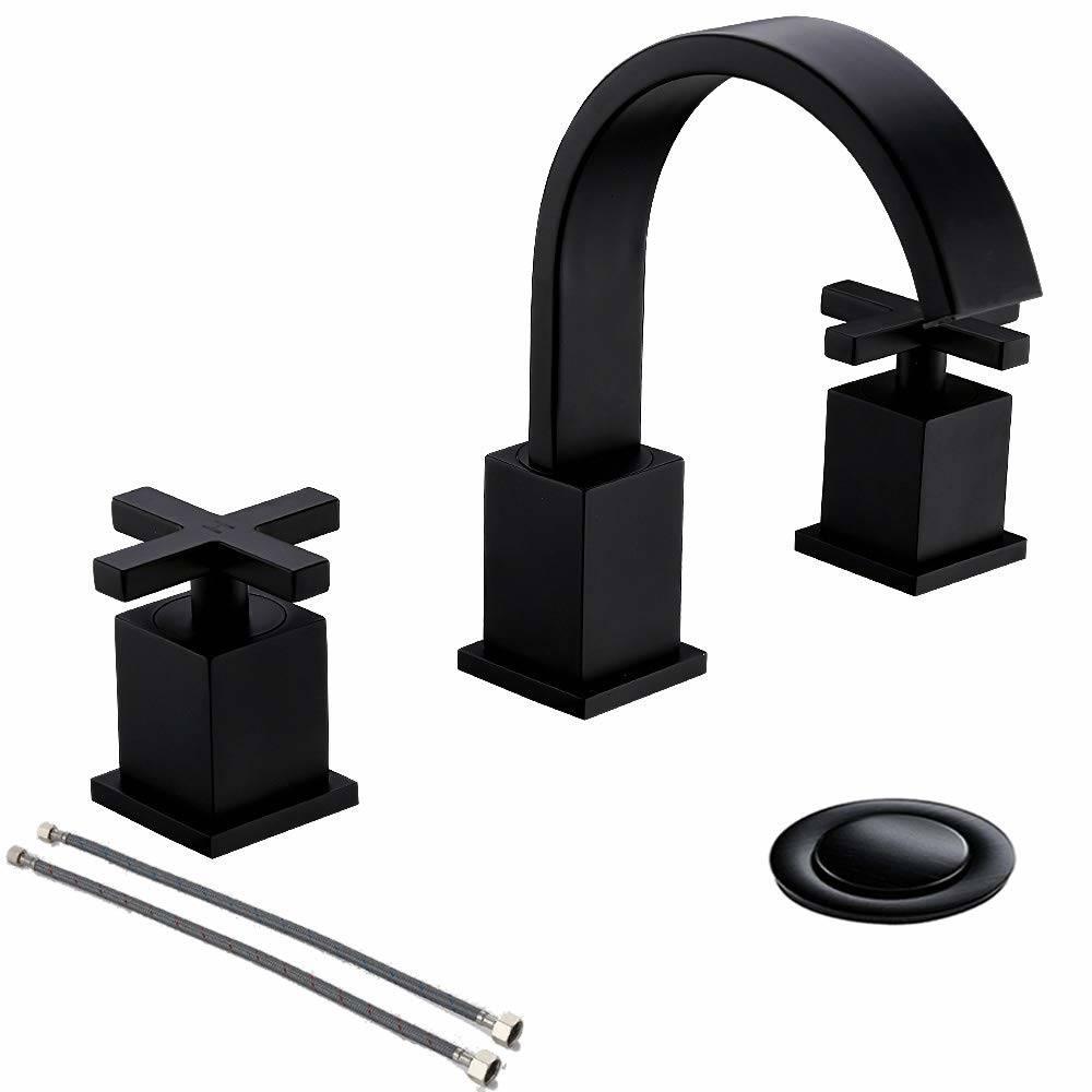 Cross Handle 3 Hole Matte Black, Black Bathroom Faucets